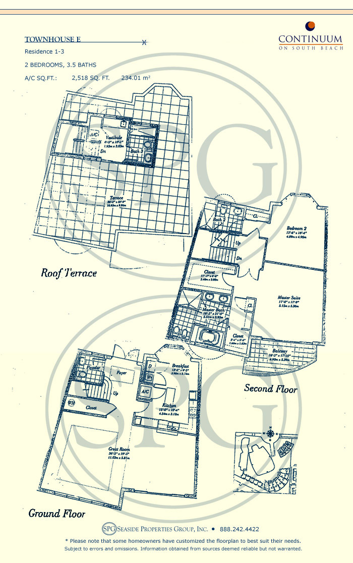 Townhouse E Floorplan for Continuum, Luxury Oceanfront Condos in Miami Beach, Florida 33139