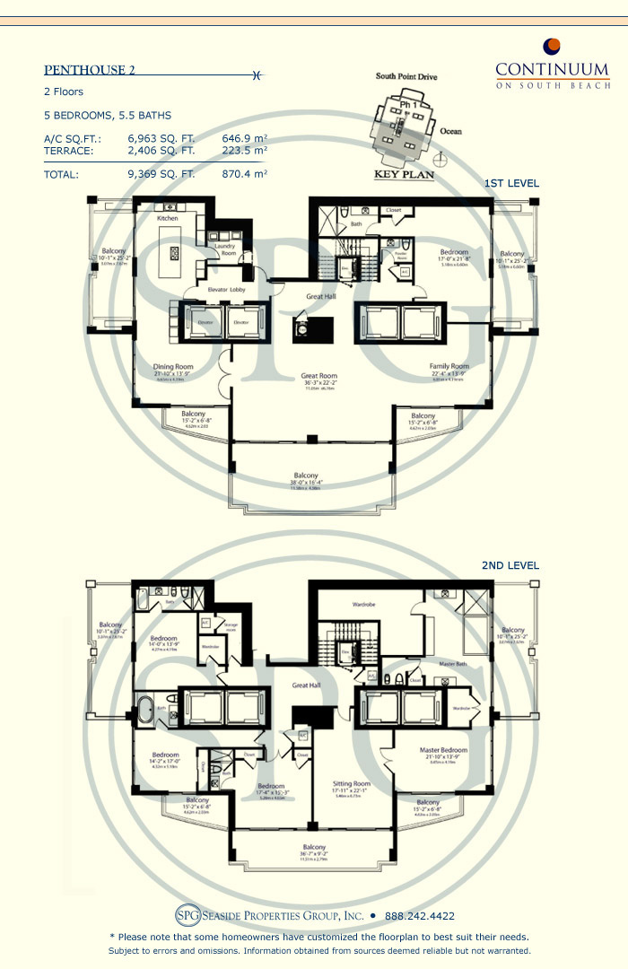 Penthouse 2 Floorplan for Continuum, Luxury Oceanfront Condos in Miami Beach, Florida 33139