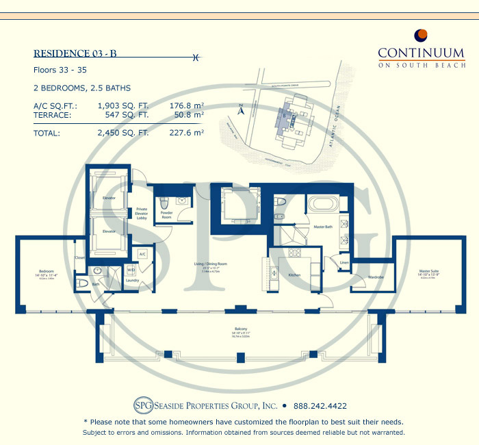 03-B Floorplan for Continuum, Luxury Oceanfront Condos in Miami Beach, Florida 33139