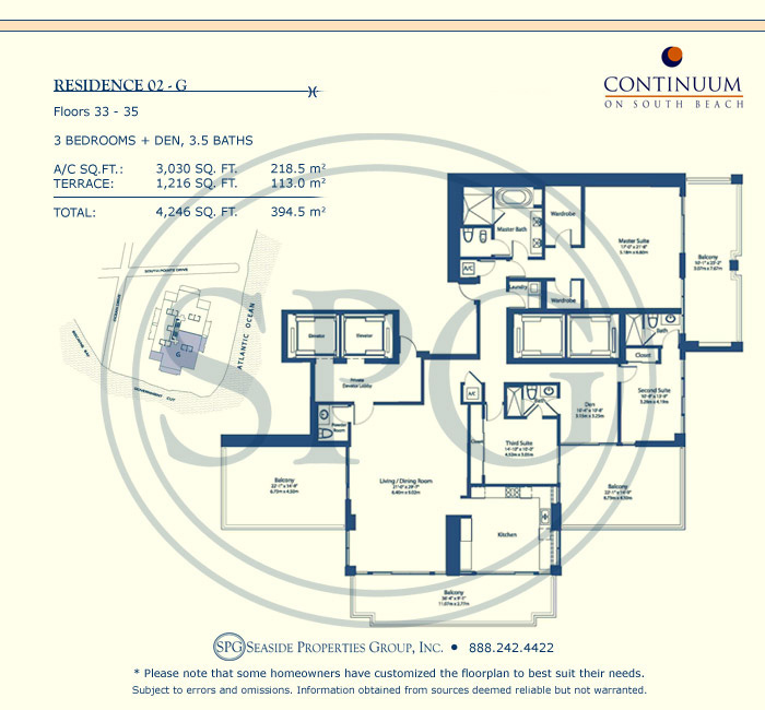 02-G Floorplan for Continuum, Luxury Oceanfront Condos in Miami Beach, Florida 33139