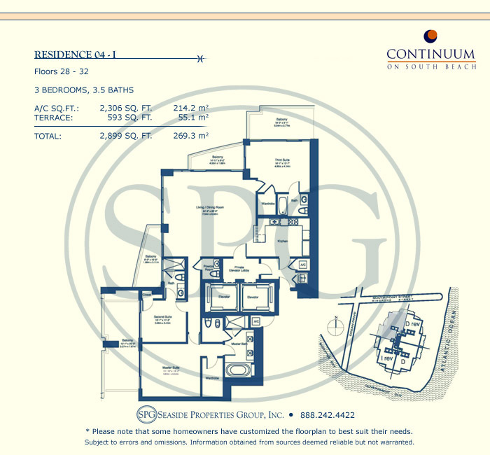 04-I Floorplan for Continuum, Luxury Oceanfront Condos in Miami Beach, Florida 33139