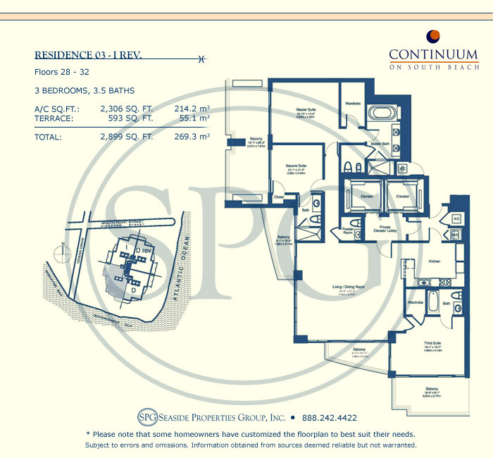 03-I Rev Floorplan for Continuum, Luxury Oceanfront Condos in Miami Beach, Florida 33139