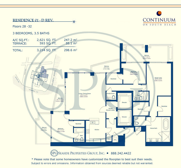 01-D Rev Floorplan for Continuum, Luxury Oceanfront Condos in Miami Beach, Florida 33139
