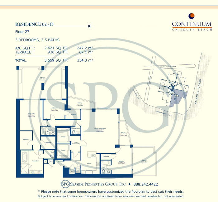 02-D Floorplan for Continuum, Luxury Oceanfront Condos in Miami Beach, Florida 33139