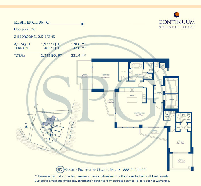 05-C Floorplan for Continuum, Luxury Oceanfront Condos in Miami Beach, Florida 33139
