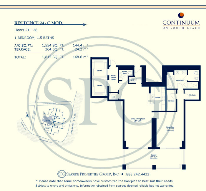 04-C Mod Floorplan for Continuum, Luxury Oceanfront Condos in Miami Beach, Florida 33139