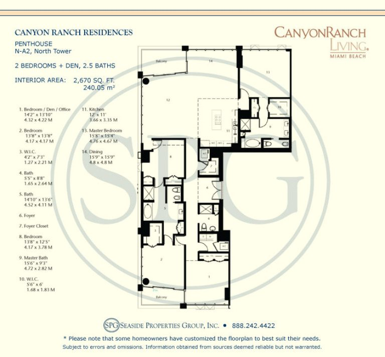 Tower Suite N-A2 Floorplan at Canyon Ranch Living, Luxury Oceanfront Condos on Miami Beach