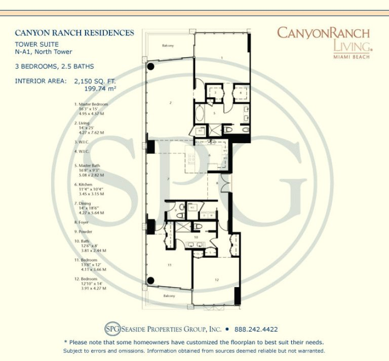 Tower Suite N-A1 Floorplan at Canyon Ranch Living, Luxury Oceanfront Condos on Miami Beach