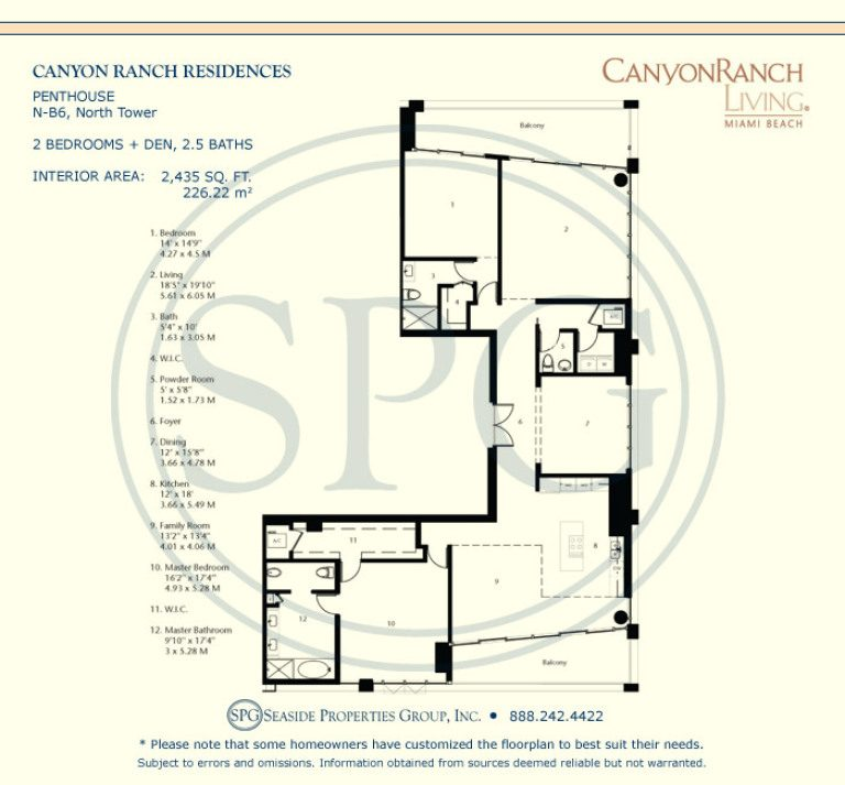 Tower Suite N-B6 Floorplan at Canyon Ranch Living, Luxury Oceanfront Condos on Miami Beach