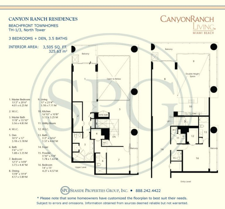 Beachfront Townhome TH-1/3 Floorplan at Canyon Ranch Living, Luxury Oceanfront Condos on Miami Beach