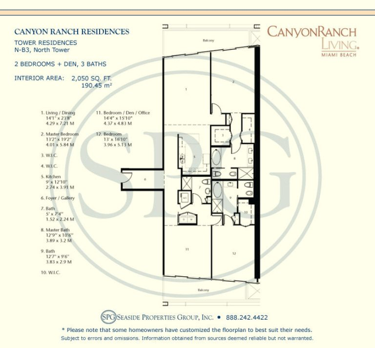 Tower Residence N-B3 Floorplan at Canyon Ranch Living, Luxury Oceanfront Condos on Miami Beach