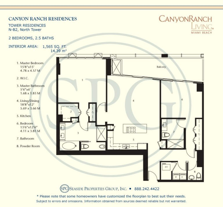 Tower Residence N-B2 Floorplan at Canyon Ranch Living, Luxury Oceanfront Condos on Miami Beach