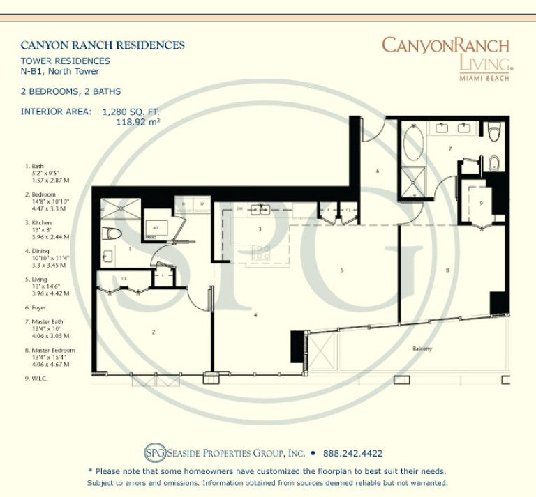 Tower Residence N-B1 Floorplan at Canyon Ranch Living, Luxury Oceanfront Condos on Miami Beach