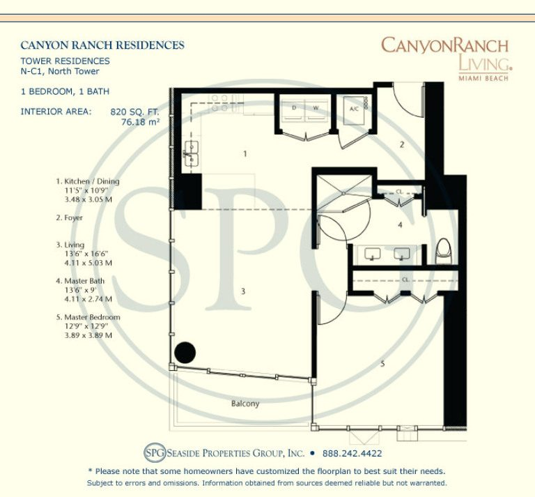 Tower Residence N-C1 Floorplan at Canyon Ranch Living, Luxury Oceanfront Condos on Miami Beach