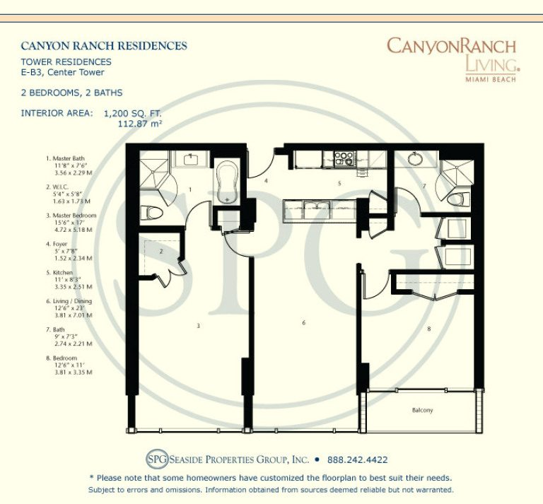 Tower Residence E-B3 Floorplan at Canyon Ranch Living, Luxury Oceanfront Condos on Miami Beach
