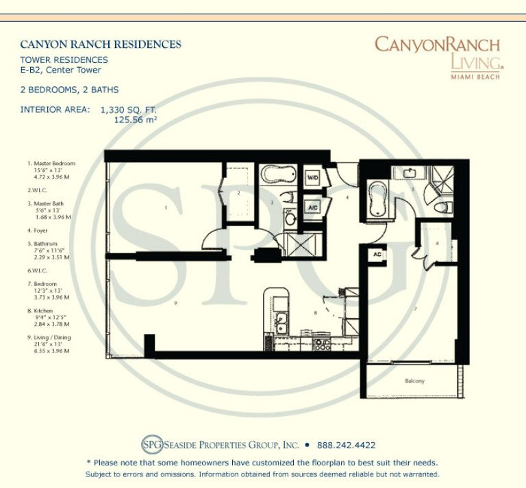 Tower Residence E-B2 Floorplan at Canyon Ranch Living, Luxury Oceanfront Condos on Miami Beach