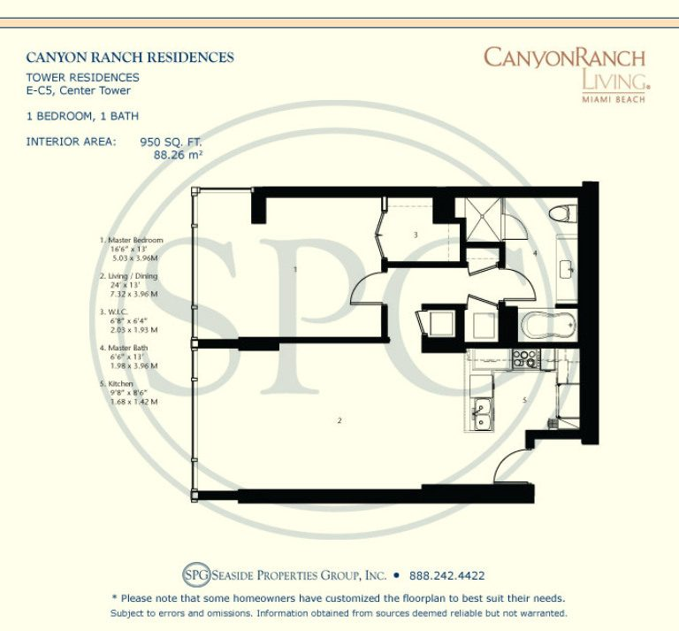 Tower Residence E-C5 Floorplan at Canyon Ranch Living, Luxury Oceanfront Condos on Miami Beach