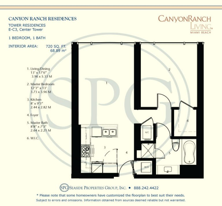 Tower Residence E-C3 Floorplan at Canyon Ranch Living, Luxury Oceanfront Condos on Miami Beach