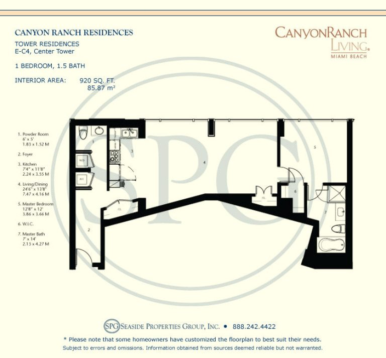 Tower Residence E-C4 Floorplan at Canyon Ranch Living, Luxury Oceanfront Condos on Miami Beach