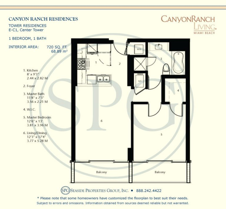 Tower Residence E-C1 Floorplan at Canyon Ranch Living, Luxury Oceanfront Condos on Miami Beach