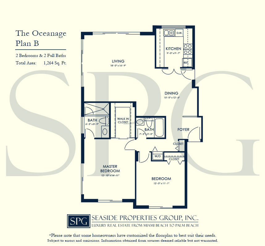 Residence B Floorplan at The Oceanage Luxury Waterfront Condo on Fort Lauderdale Beach