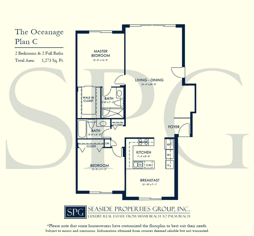 Residence C Floorplan at The Oceanage Luxury Waterfront Condo on Fort Lauderdale Beach