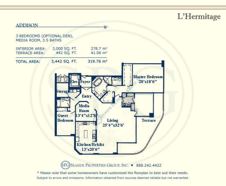 floorplan, addison, l'hermitage, luxury, oceanfront, condo, florida, 33308