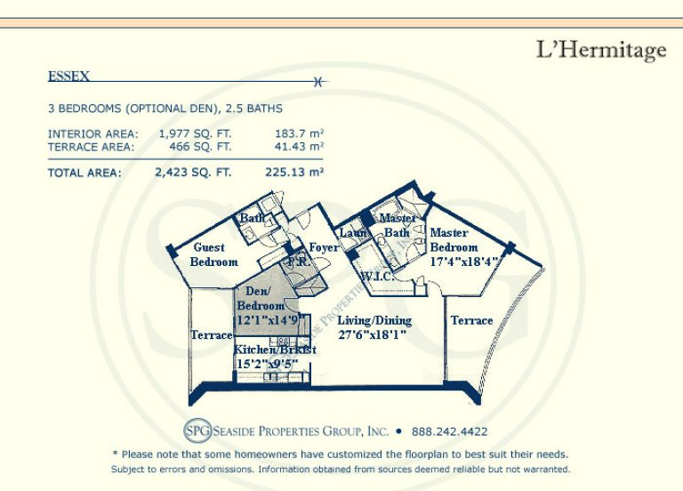view floorplan of essex at l'hermitage, luxury oceanfront condo