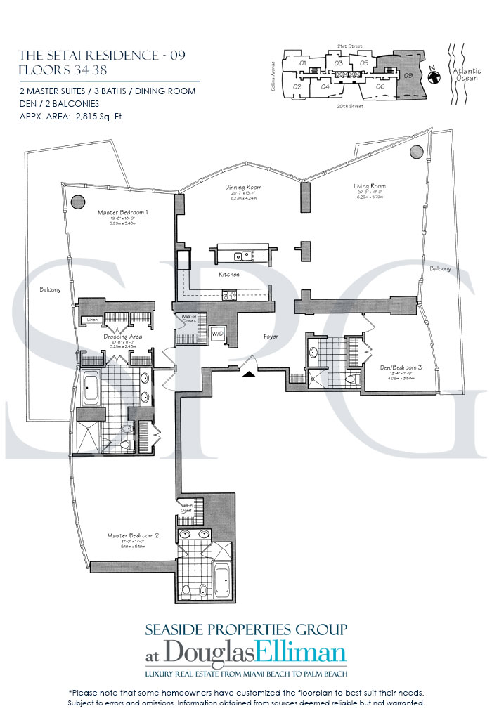 Residence 09 Floorplan at The Setai, Luxury Oceanfront Condo Residences on Miami Beach, Florida 33139