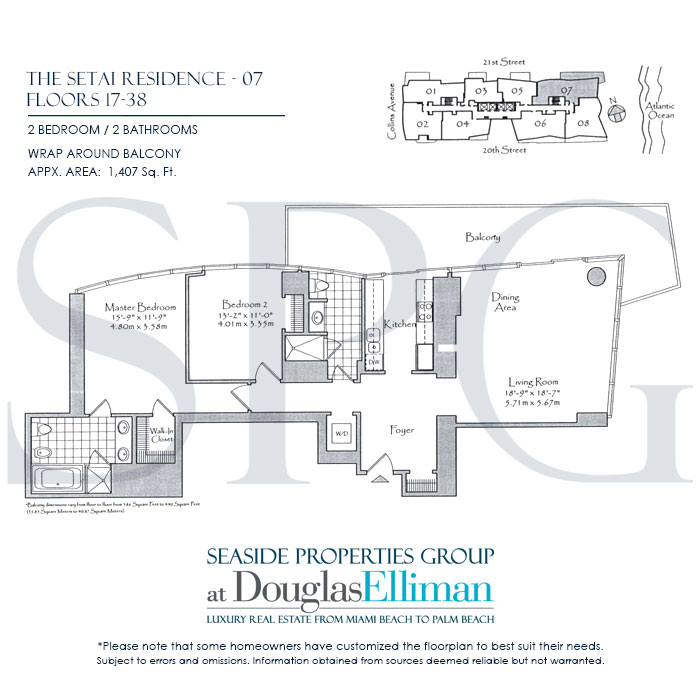 Residence 07 Floorplan at The Setai, Luxury Oceanfront Condo Residences on Miami Beach, Florida 33139