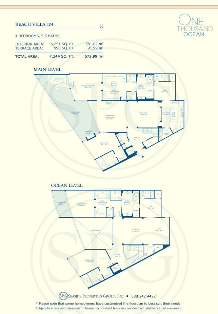 Beach Villa 104 Floorplan at One Thousand Ocean, Luxury Waterfront Condo