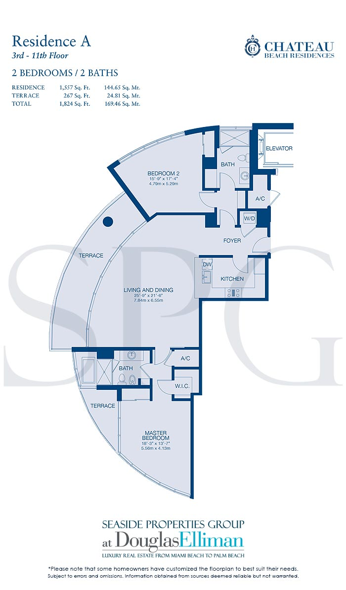 Residence A Floorplan for Chateau Beach Residences, Luxury Oceanfront Condominiums in Sunny Isles Beach, Florida 33160
