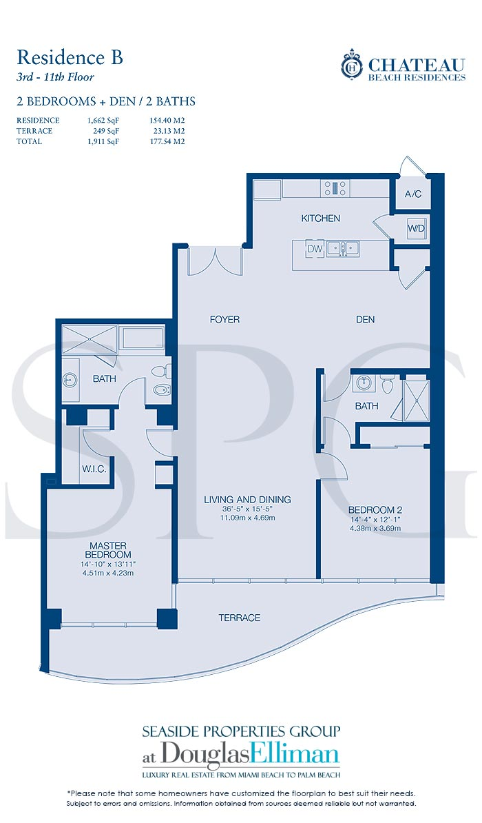 Residence B Floorplan for Chateau Beach Residences, Luxury Oceanfront Condominiums in Sunny Isles Beach, Florida 33160