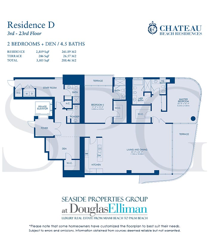 Residence D Floorplan for Chateau Beach Residences, Luxury Oceanfront Condominiums in Sunny Isles Beach, Florida 33160