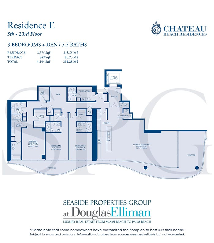 Residence E Floorplan for Chateau Beach Residences, Luxury Oceanfront Condominiums in Sunny Isles Beach, Florida 33160