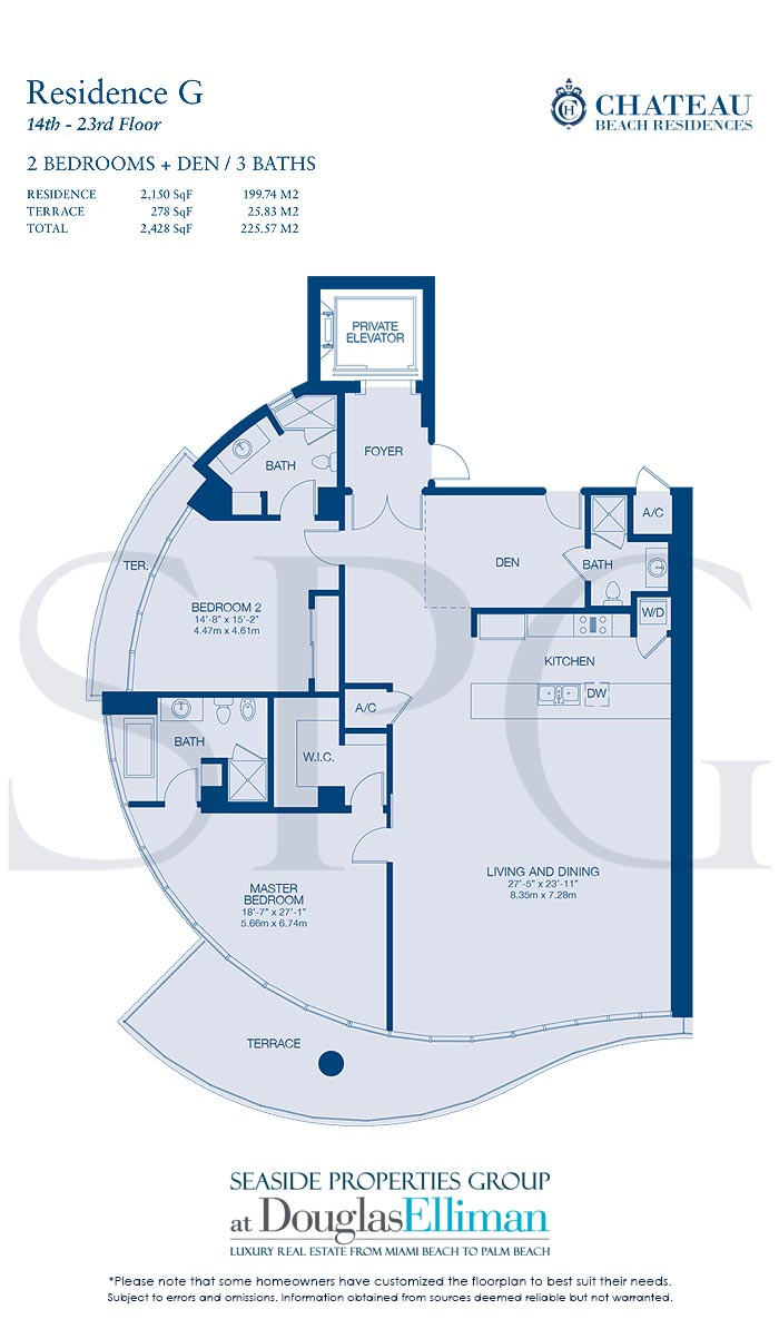 Residence G Floorplan for Chateau Beach Residences, Luxury Oceanfront Condominiums in Sunny Isles Beach, Florida 33160