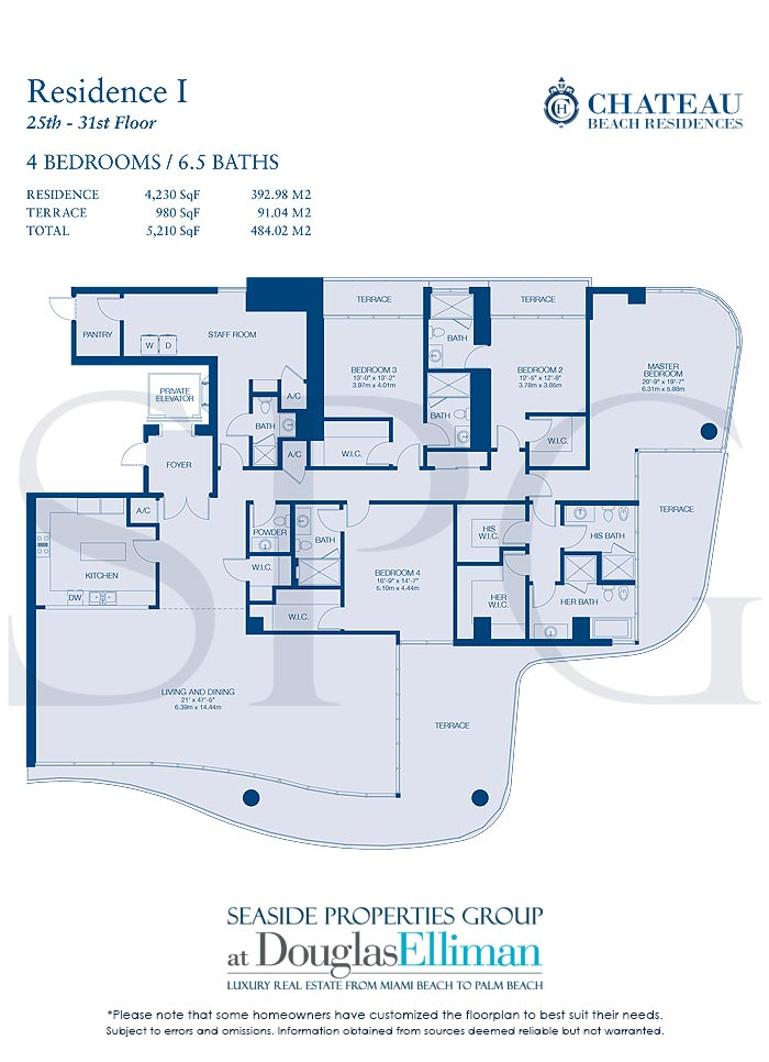 Residence I Floorplan for Chateau Beach Residences, Luxury Oceanfront Condominiums in Sunny Isles Beach, Florida 33160
