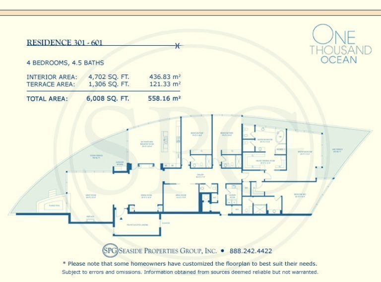 Residence 301-601 Floorplan at One Thousand Ocean, Luxury Waterfront Condo