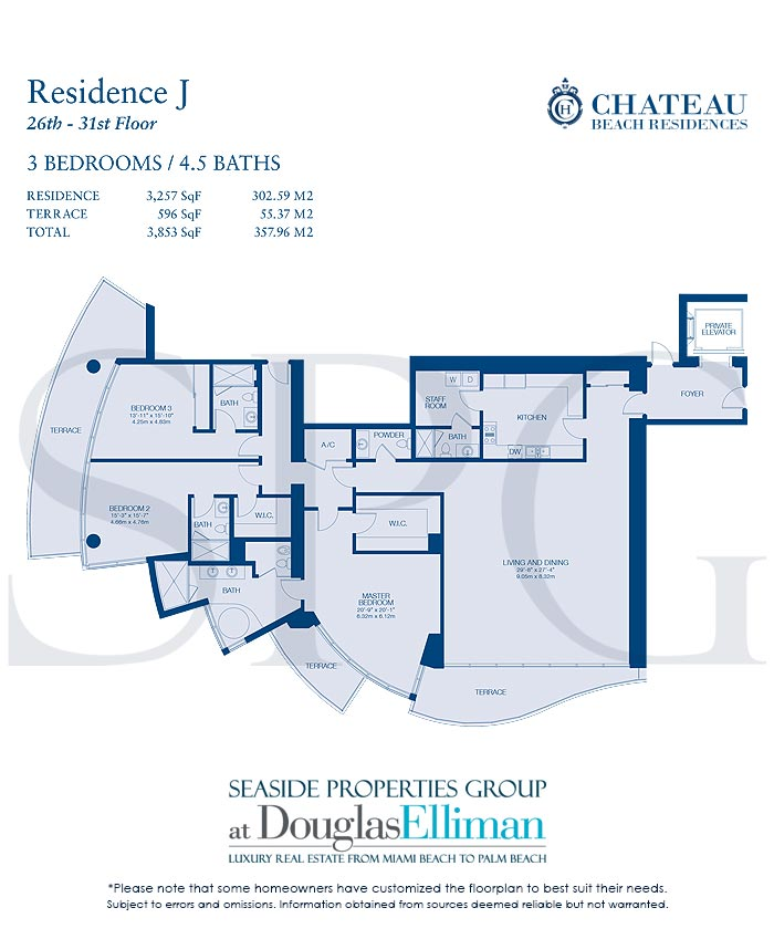 Residence J Floorplan for Chateau Beach Residences, Luxury Oceanfront Condominiums in Sunny Isles Beach, Florida 33160
