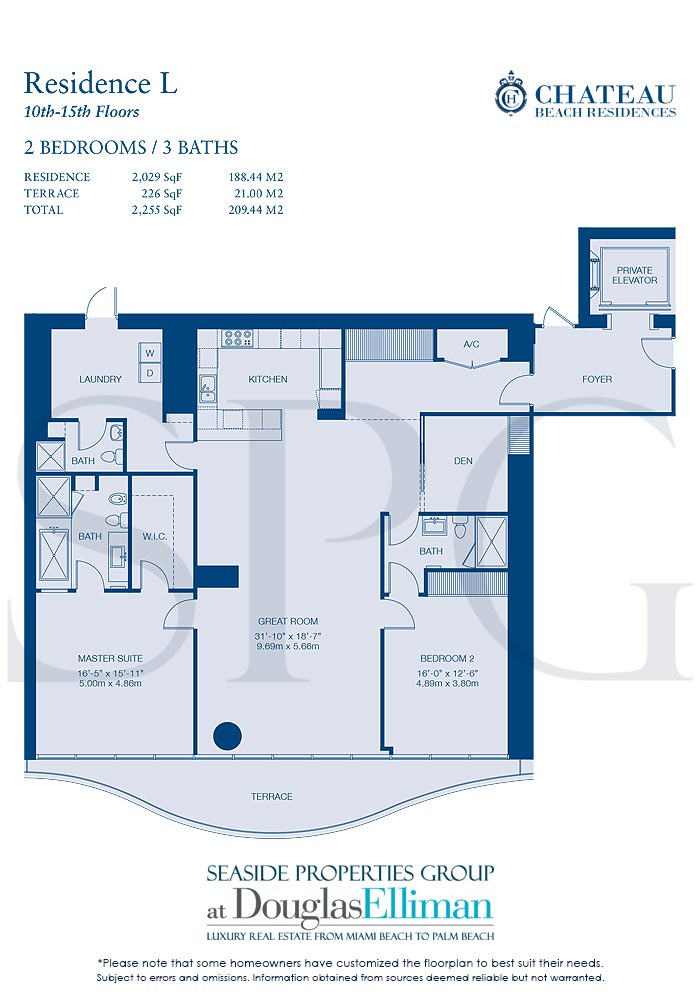 Residence L Floorplan for Chateau Beach Residences, Luxury Oceanfront Condominiums in Sunny Isles Beach, Florida 33160