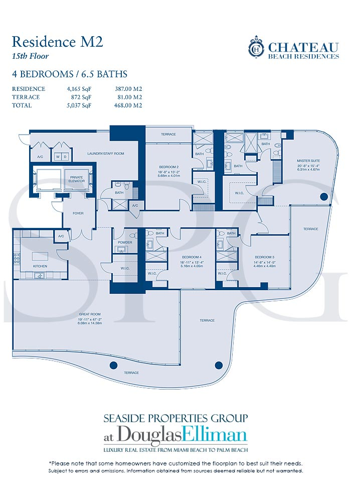 Residence M2 Floorplan for Chateau Beach Residences, Luxury Oceanfront Condominiums in Sunny Isles Beach, Florida 33160