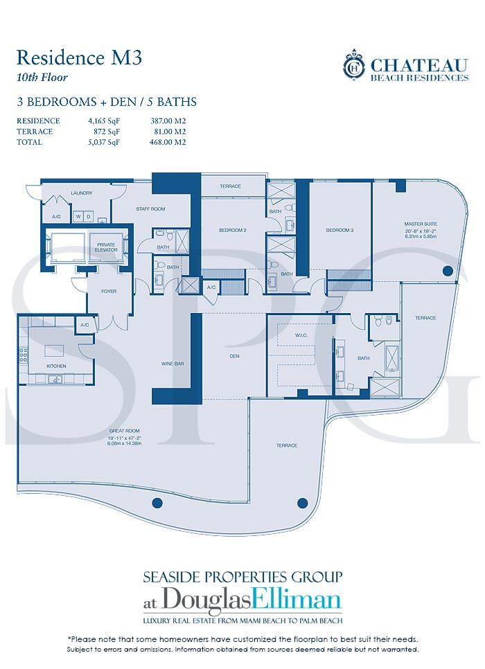Residence M3 Floorplan for Chateau Beach Residences, Luxury Oceanfront Condominiums in Sunny Isles Beach, Florida 33160