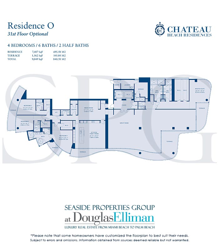 Residence O Floorplan for Chateau Beach Residences, Luxury Oceanfront Condominiums in Sunny Isles Beach, Florida 33160
