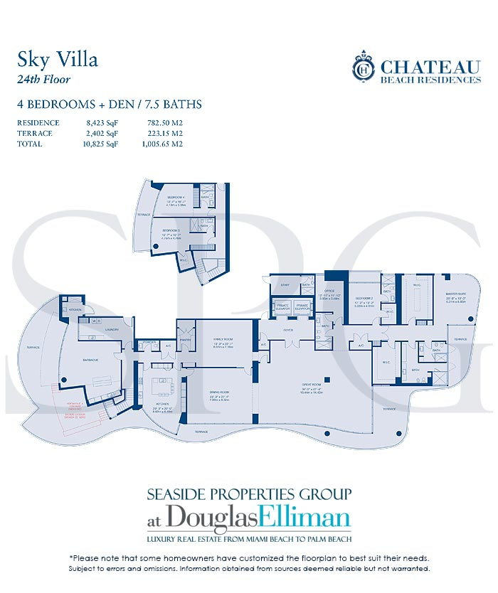 Sky Villa Floorplan for Chateau Beach Residences, Luxury Oceanfront Condominiums in Sunny Isles Beach, Florida 33160