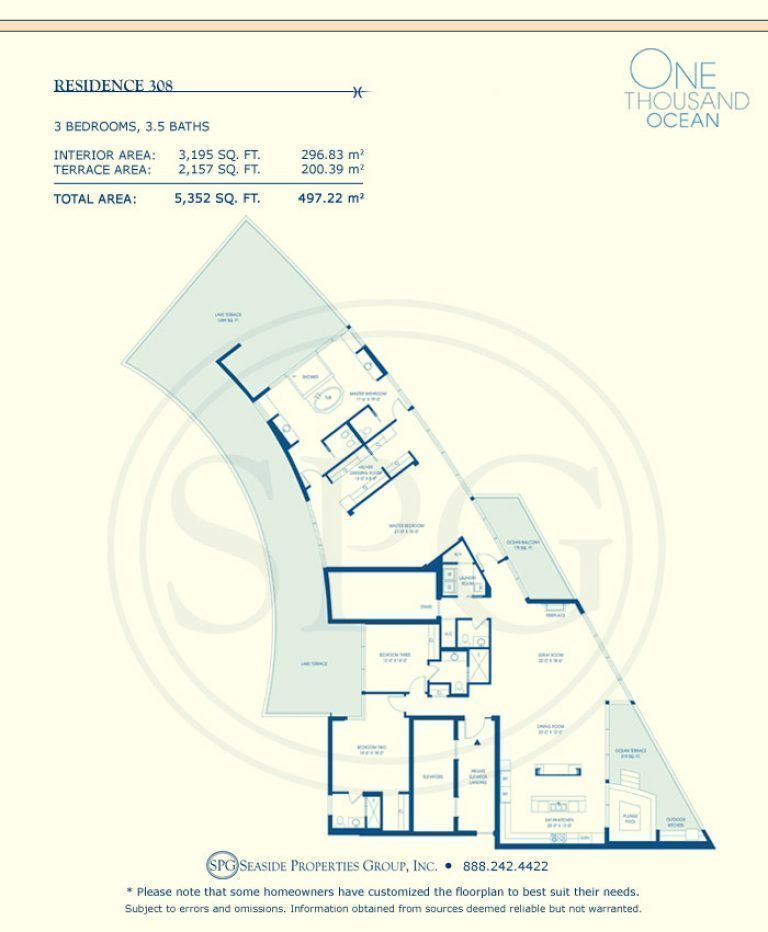 Residence 308 Floorplan at One Thousand Ocean, Luxury Waterfront Condo