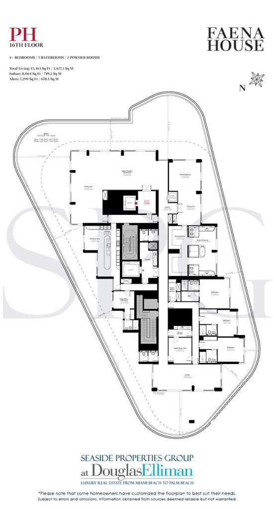 Penthouse Floorplans for Faena House, Luxury Oceanfront Condominiums in Miami Beach, Florida 33140.