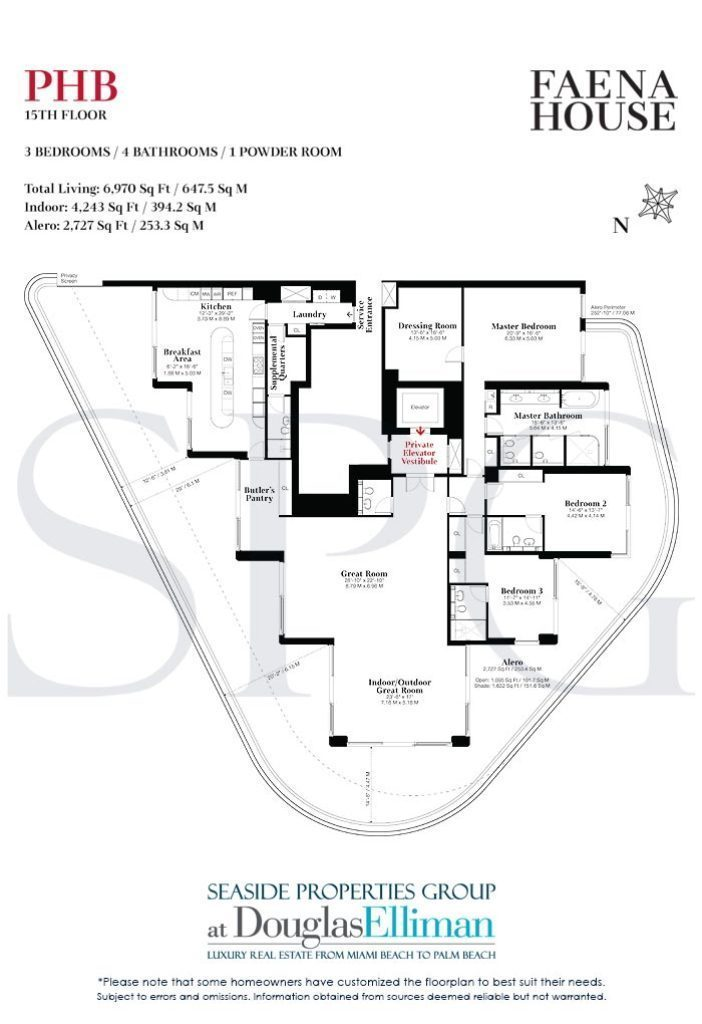 Penthouse B Floorplans for Faena House, Luxury Oceanfront Condominiums in Miami Beach, Florida 33140.