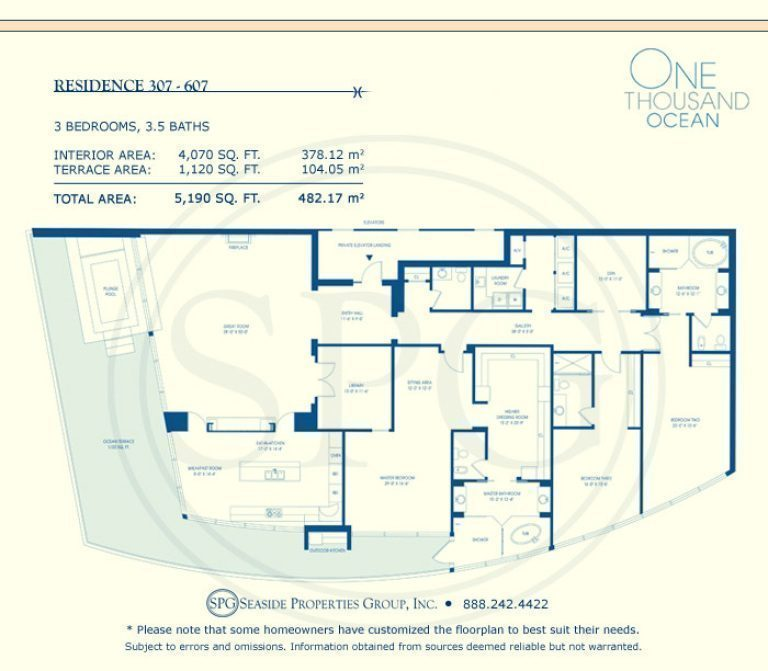 Residence 307-607 Floorplan at One Thousand Ocean, Luxury Waterfront Condo