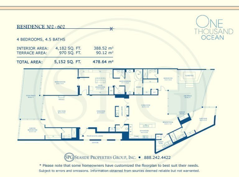 Residence 302-602 Floorplan at One Thousand Ocean, Luxury Waterfront Condo