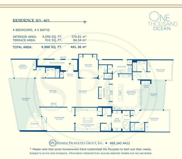 Residence 305-605 Floorplan at One Thousand Ocean, Luxury Waterfront Condo